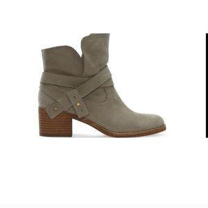 Ugg Elora Suede Heel Ankle Boots Sz 6 Olive Green